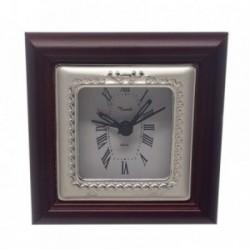 Reloj despertador plata Ley 925m espiral trasera madera [AB5957]