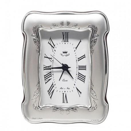 Reloj despertador plata Ley 925m curvado trasera madera [AB5959]