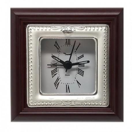 Reloj despertador plata Ley 925m mate brillo cenefa rayas [AB5960]