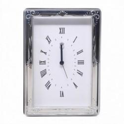Reloj despertador plata Ley 925m esquinas trasera madera [AB5962]