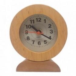 Reloj madera redondeado funcionamiento pilas esfera 6,5cm.