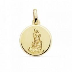 Medalla oro 18k Virgen del Saliente 14mm. cerco liso [AB8946]