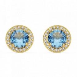 Pendientes oro 18k 9mm. piedra azul claro circonitas [AB8953]