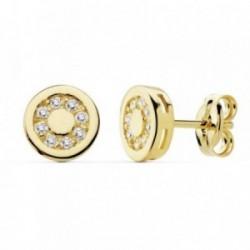 Pendientes oro 18k circonitas motivo 7mm. círculo [AB8959]