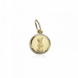 Medalla oro 18k Cristo del Gran Poder 8mm. cerco tallado [AB8972]