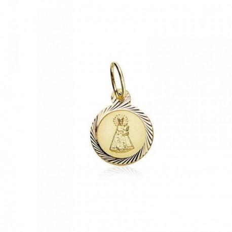 Medalla oro 18k Virgen Desamparados 8mm. cerco tallado [AB8973]