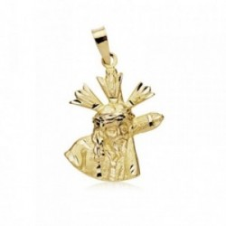 Medalla oro 18k Cristo Gran Poder 21mm. silueta [AB8980]