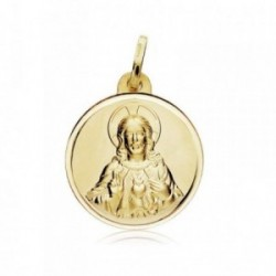 Medalla oro 18k Corazón de Jesús 18mm. bisel [AB8984]