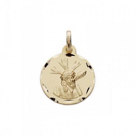 Medalla oro 18k Cristo Gran Poder 16mm. tallada [AB8985]