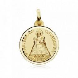 Medalla oro 18k Virgen Covadonga 18mm. bisel [AB8986]