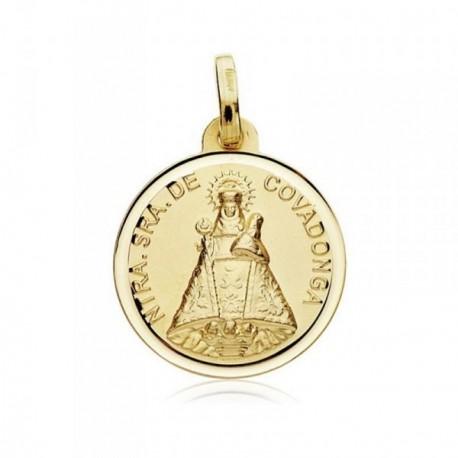 Medalla oro 18k Virgen Covadonga 18mm. bisel [AB8986GR]