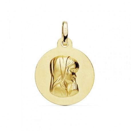 Medalla oro 18k Virgen Niña matizada 16mm. [AB8987]