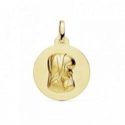 Medalla oro 18k Virgen Niña matizada 16mm. [AB8987GR]