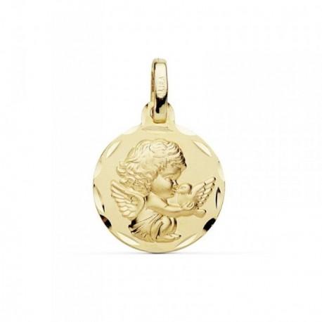 Medalla oro 18k 14mm. Angelito burlón paloma borde tallado [AB8988]