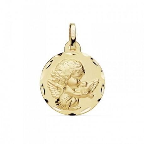 Medalla oro 18k 16mm. Angelito burlón paloma borde tallado [AB8989]