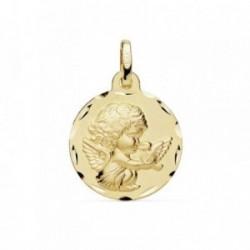 Medalla oro 18k 16mm. Angelito burlón paloma borde tallado [AB8989GR]