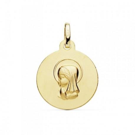 Medalla oro 18k Virgen Niña 16mm. matizada [AB8990]
