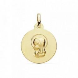 Medalla oro 18k Virgen Niña 16mm. matizada [AB8990GR]