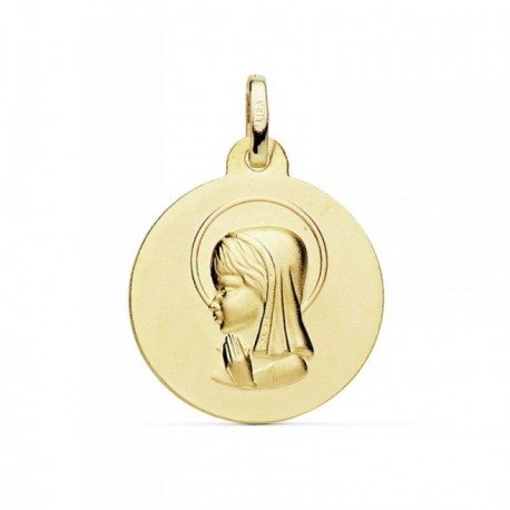 Medalla oro 18k Virgen Niña 18mm. mate [AB8991]