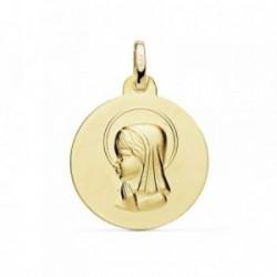 Medalla oro 18k Virgen Niña 18mm. mate [AB8991GR]