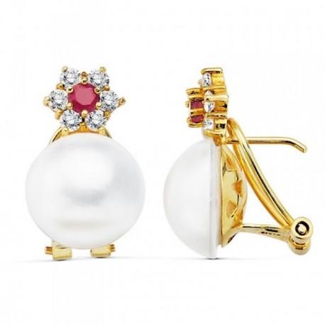 Pendientes oro 18k 21mm. perla cultivada japonesa circonitas [AB9009]