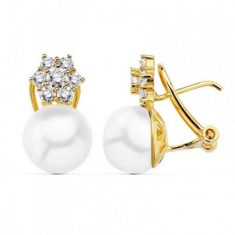 Pendientes oro 18k 17mm. perla cultivada japonesa circonitas [AB9010]