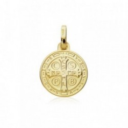 Escapulario oro 18k medalla 14mm. San Benito [AB9012]
