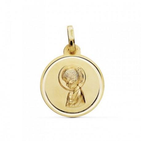 Medalla oro 9k Virgen Niña bisel 16mm. [AB9026GR]