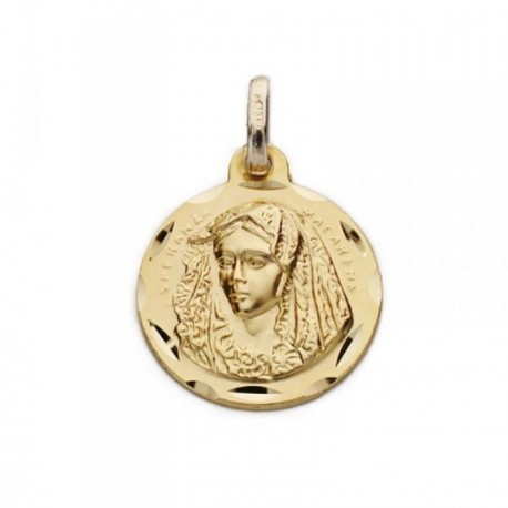Medalla oro 9k Macarena 18mm. cerco tallado [AB9041GR]