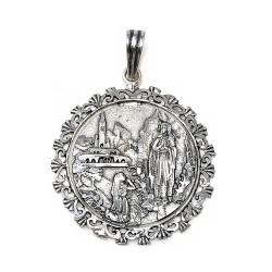 Medalla plata Ley 925m Virgen Lourdes cerco calado [AB9159GR]