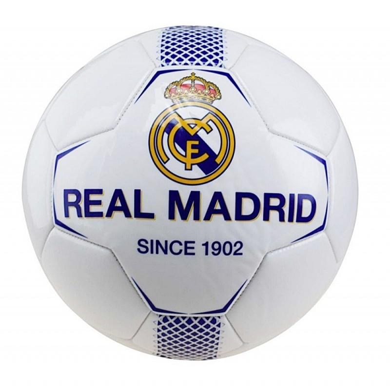 8267bf665 Balón grande Real Madrid blanco azul centro escudo detalles azules licencia  oficial