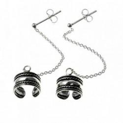 Pendientes plata Ley 925m oxidada largos trepador cadena [AB9253]