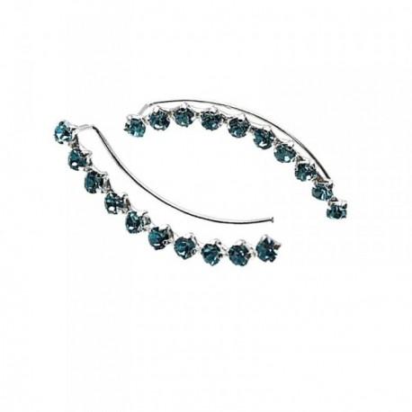 Pendientes plata Ley 925m trepador piedras color azul [AB9257]
