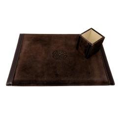 Escritorio set escribanía portalápices cubo piel marrón [4328]