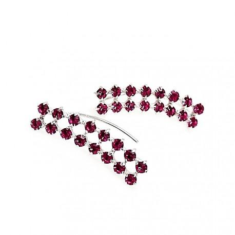 Pendientes plata Ley 925m trepador piedras color rosa [AB9259]