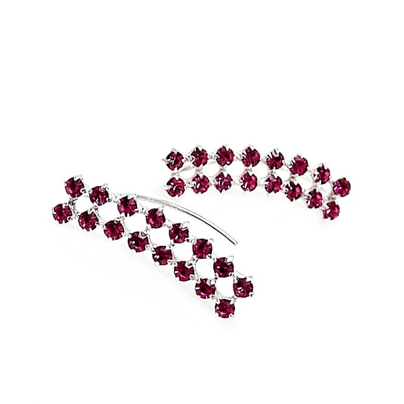 64fde5257493 Pendientes plata Ley 925m trepador piedras color rosa  AB9259 . Loading zoom