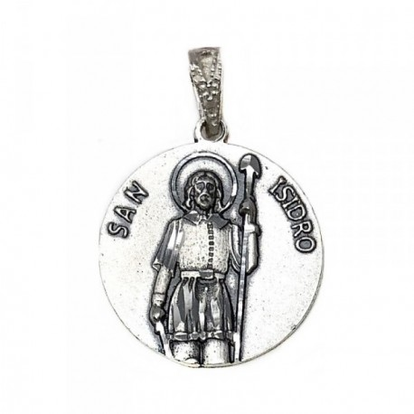 Medalla Plata Ley 925m San Isidro Labrador 22mm. [AB9266]