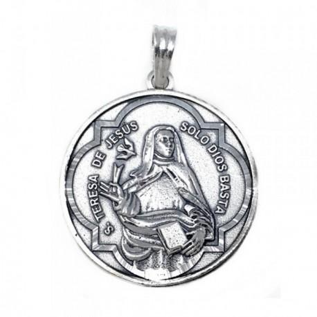 Medalla Plata Ley 925m escapulario 34mm. Santa Teresa [AB9268]