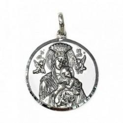Medalla Plata Ley 925m Virgen Perpetuo Socorro 30mm. [AB9270]