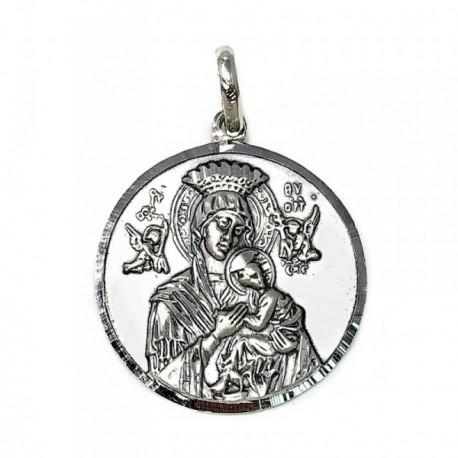 Medalla Plata Ley 925m Virgen Perpetuo Socorro 30mm. [AB9270GR]
