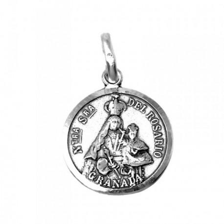 Medalla Plata Ley 925m Nuestra Señora Rosario Granada 18mm. [AB9277]