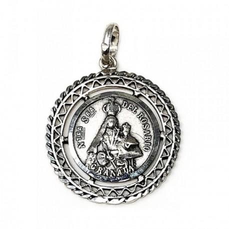 Medalla Plata Ley 925m Nuestra Señora Rosario Granada 26mm. [AB9278]