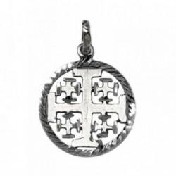 Medalla Plata Ley 925m Cruz Santo Sepulcro Jerusalén 20mm. [AB9286]