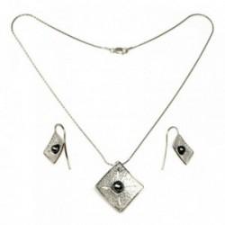 Juego plata Ley 925m gargantilla pendientes rombo perla gris [AB9047]