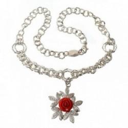 Gargantilla plata Ley 925m 45cm. motivo rosa roja hojas [AB9062]