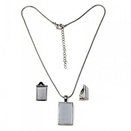 Juego metal rodiado gargantilla pendientes motivo nácar [AB9065]