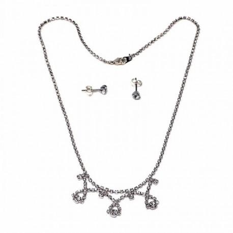 Juego metal rodiado pendientes gargantilla circonitas [AB9066]