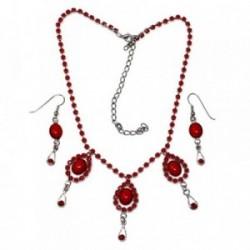 Juego metal rodiado gargantilla pendientes piedra roja [AB9069]