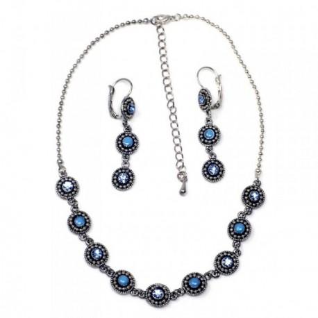Juego metal rodiado gargantilla pendientes circonitas azul [AB9070]