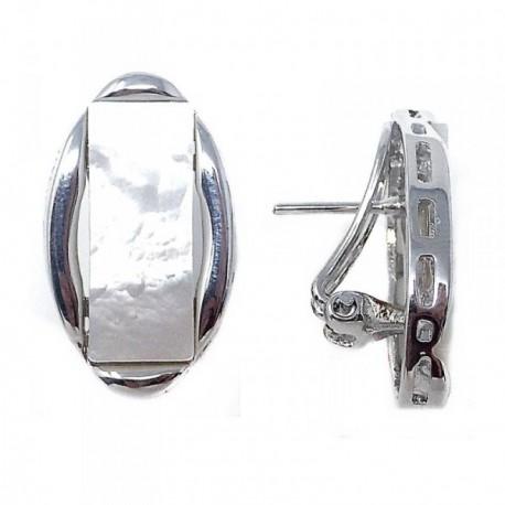 Pendientes metal rodiados ovalados motivo nácar rectangular [AB9076]